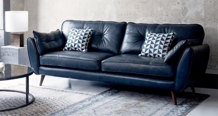 Leather Zinc 3 Seater Sofa