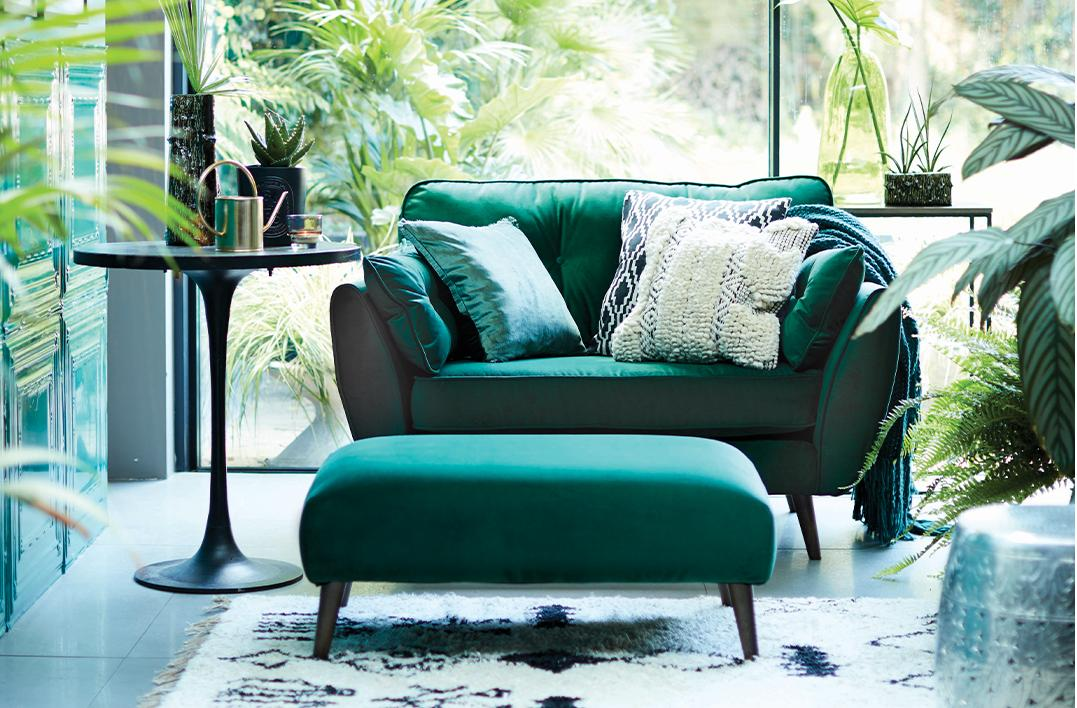 Green Zinc Sofa And Footstool