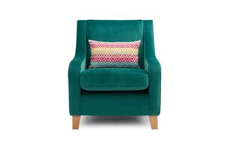 Velvet Accent Chair with 1 Pattern Bolster