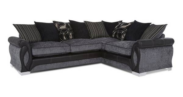 Acer Left Hand Facing 3 Seater Pillow Back Deluxe Corner Sofa Bed