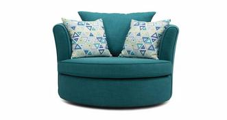 Adora Large Swivel Chair with Pattern Scatters