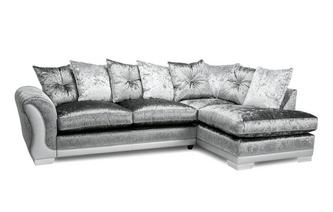 Pillow Back Left Hand Facing Arm 3 Seater Open End Corner Sofa