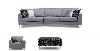 Akira Clearance Angled Sofa, Chair & Footstool