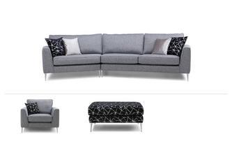 Angled Sofa, Chair & Footstool Akira