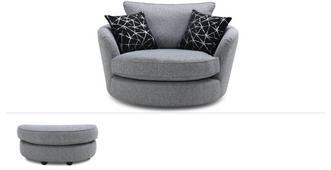 Akira Clearance Large Swivel Chair & Stool