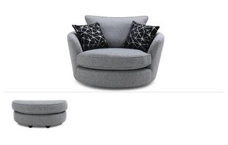 Large Swivel Chair & Stool Akira