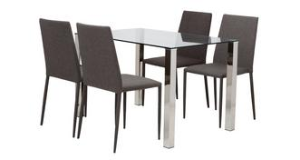 Alexo Fixed Top Dining Table and 4 Zenn Chairs