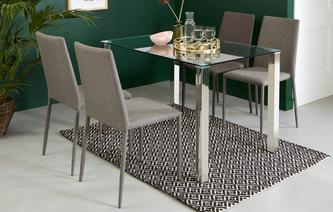 Alexo Fixed Top Dining Table and 4 Zenn Chairs Alexo