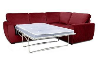 Velvet Left Hand Facing 2 Seater Deluxe Corner Sofa Bed