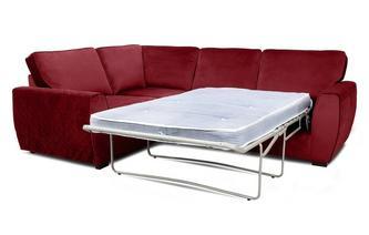 Velvet Right Hand Facing 2 Seater Deluxe Corner Sofa Bed