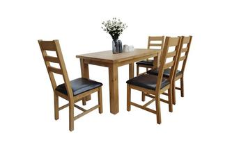 Fixed Top Table & 4 Ladderback Chairs