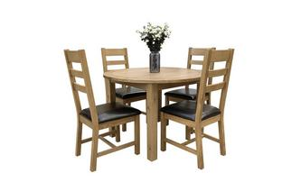 Round Extending Table & 4 Ladderback Chairs
