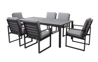 Amalfi Dining Table & 6 Chairs PU Rattan