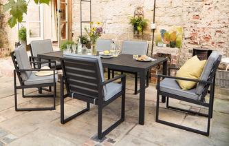 Amalfi Dining Table U0026 6 Chairs PU Rattan