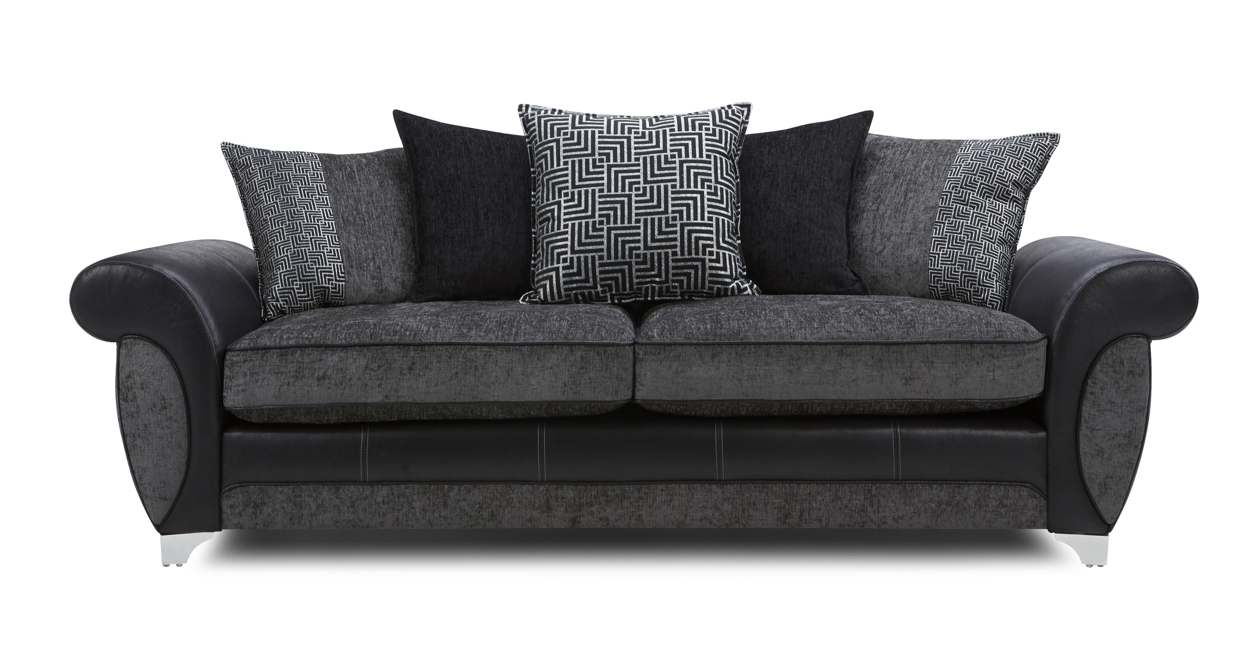 Dfs black sofa Dfs 4 seater leather sofa