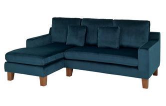 Velvet Left Hand Facing 3 Seater Chaise End Sofa