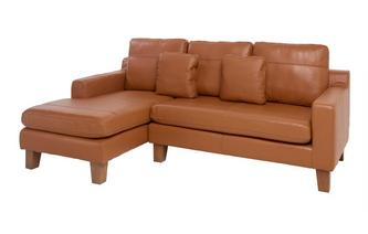 Leather Left Hand Facing 3 Seater Chaise End Sofa