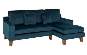 Velvet Right Hand Facing 3 Seater Chaise End Sofa