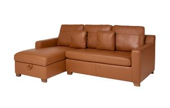 Leather Left Hand Facing Chaise End Storage Sofa Bed