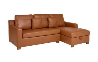 Leather Right Hand Facing Chaise End Storage Sofa Bed