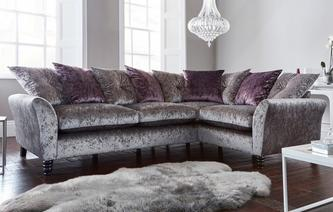 Annalise Pillow Back Left Hand Facing 2 Seater Corner Sofa Krystal