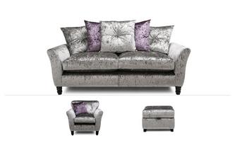 Annalise Clearance 3 Seater Sofa, Chair & Stool Krystal