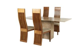 Fixed Table & Set of 4 Honey Chairs