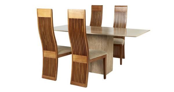 Antoinette Vaste eettafel en reeks van 4 Honey stoelen