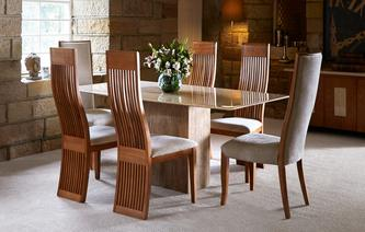 Antoinette Fixed Table & Set of 4 Honey Chairs Antoinette
