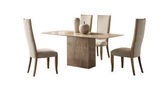 Antoinette Vaste eettafel en reeks van 4 Oslo stoelen
