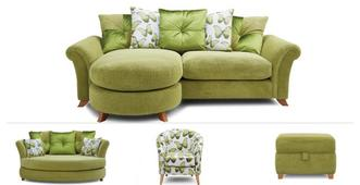 Arica Clearance 4 Seater Lounger, Cuddler Sofa, Chair & Stool