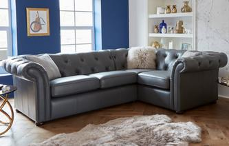 Ashby Leather Left Hand Facing 2 Seater Corner Sofa Brooke