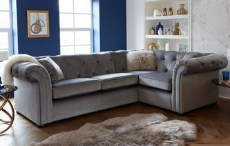 Ashby Velvet Left Hand Facing 2 Seater Corner Sofa Abbey Velvet