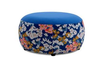Velvet Large Round Pattern Footstool