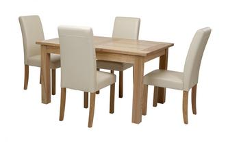 Medium Extending Table & Set of 4 Cream Chairs