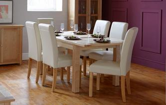 Aston Medium Extending Table Set Of 4 Cream Chairs