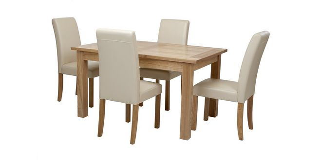Aston: Large Extending Table U0026 Set Of 4 Cream Chairs