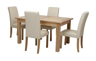 Large Extending Table & Set of 4 Cream Chairs