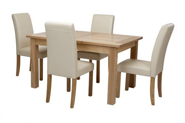 Aston Large Extending Table & Set of 4 Cream Chairs