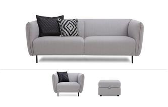 Athena Clearance 3 Seater Sofa, Armchair, Storage Stool & 4 Cushions Symphony