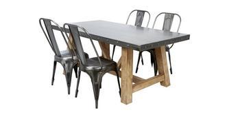 Atom Vaste eettafel en reeks van 4 stoelen