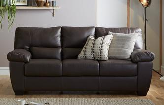 gxd avail leather and leather look 3 seater sofa hazen