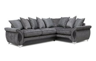 Left Hand Facing 3 Seater Deluxe Corner Pillow Back Sofa Bed Avici