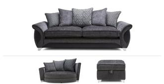 Avici Clearance 4 Seater, Cuddler Sofa & Footstool