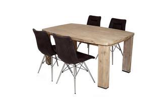 Eettafel en reeks van 4 stoelen Ayan