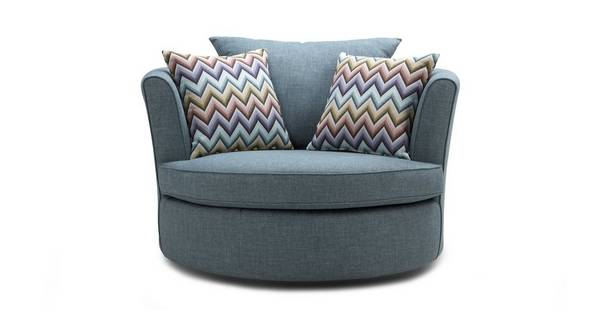 Ayda Large Swivel Chair with Pattern Scatters