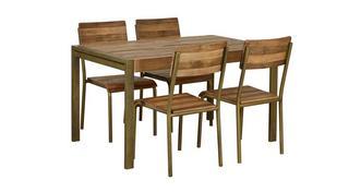 Barclay Medium vaste eettafel en reeks van 4 stoelen