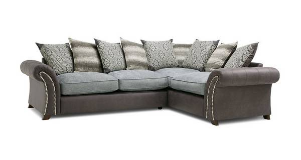 Barnaby Left Hand Facing 3 Seater Pillow Back Deluxe Corner Sofa Bed