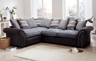 Barnaby Right Hand Facing 3 Seater Pillow Back Deluxe Corner Sofa Bed Barnaby