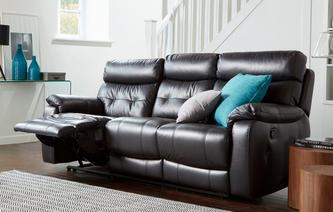 Bartley Leather and Leather Look 3 Seater Manual Recliner Premium